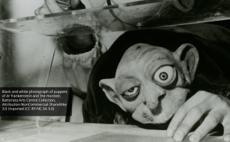 LS-FR-52: history of puppets: black and white photograph of puppets of dr frankenstein and the monster