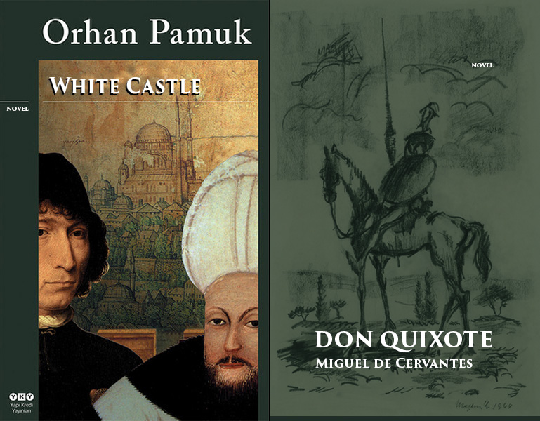 covers of Don Quixote and White Castle novel