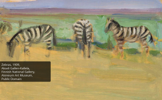 Artwork of a safari with 3 zebras - Africa awareness