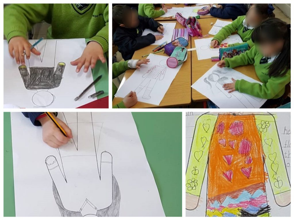 Students drawing an original outfit