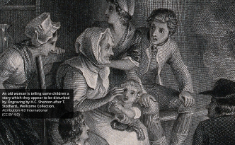 LS-IT-110- augmented reality storytelling - An old woman is telling some children a story which they appear to be disturbed by. Engraving by H.C. Shenton after T. Stothard.