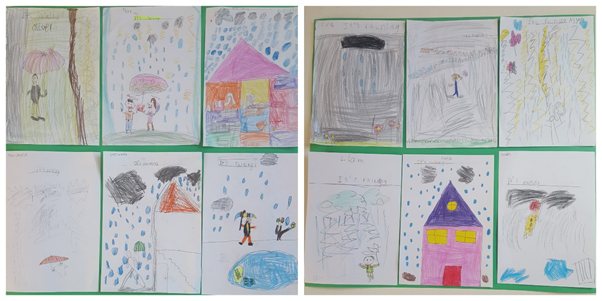 Drawings of the rain created by the students during this Learning  Scenario.