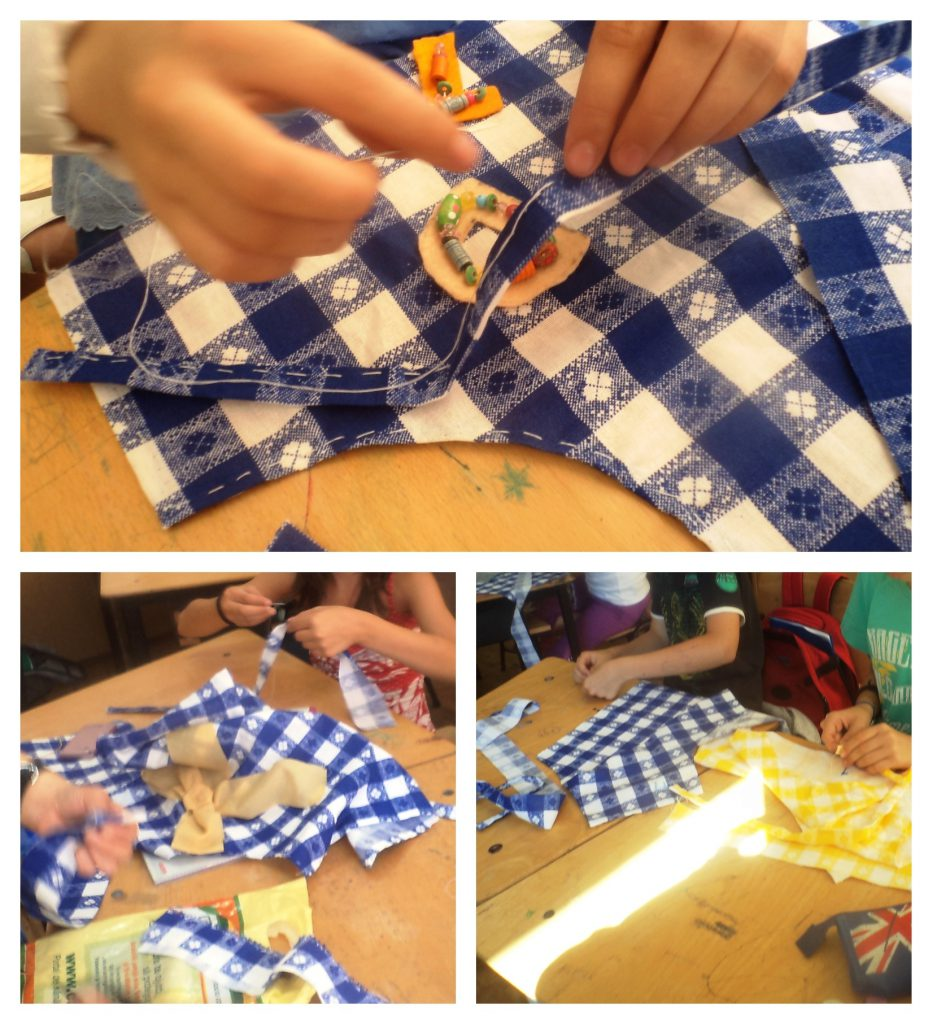 Students creating their own aprons