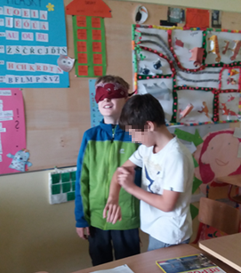 students being blindfolded