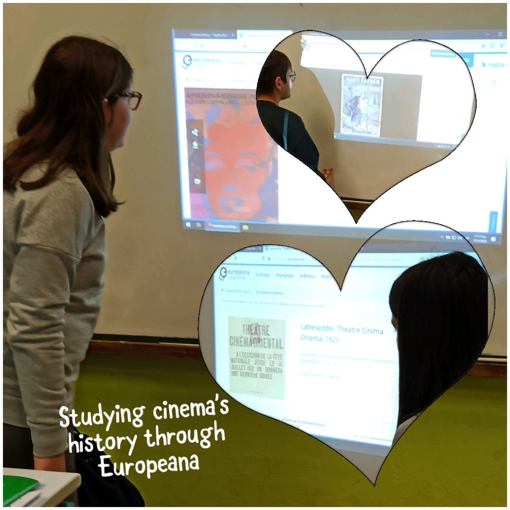 students studying cinema's history through Europeana