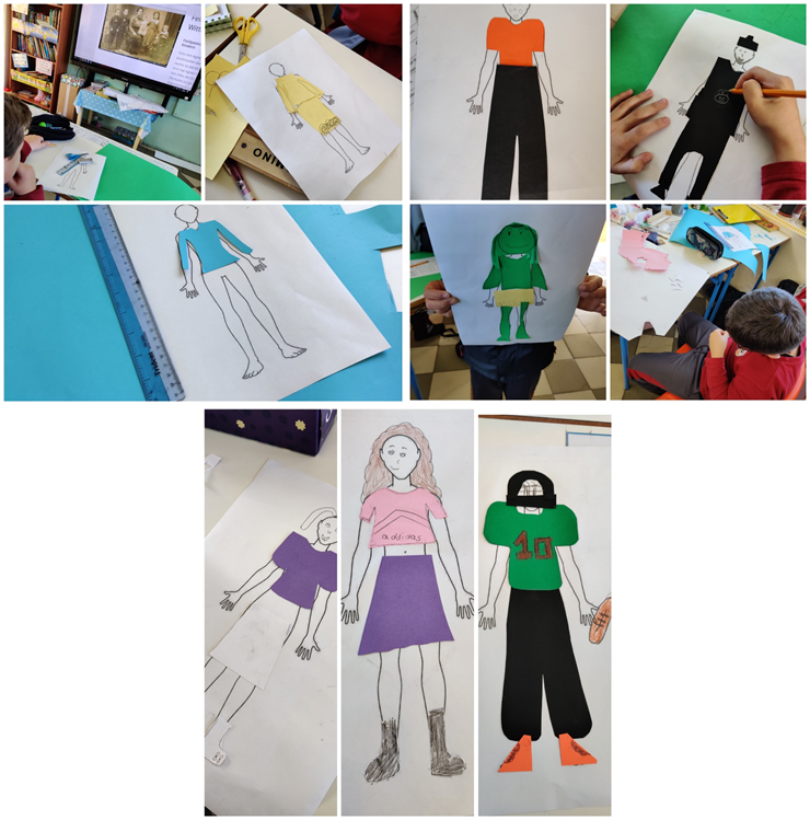 Creating their outfits using cardboard paper