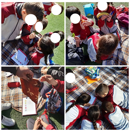 Students using their senses to connect with the environment.