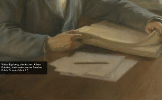 'Viktor Rydberg, the Author' - image of a person writing and reading - found on Europeana Collections