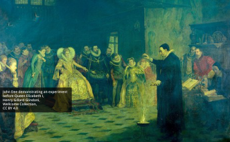 John Dee demonstrating an experiment before Queen Elizabeth I
