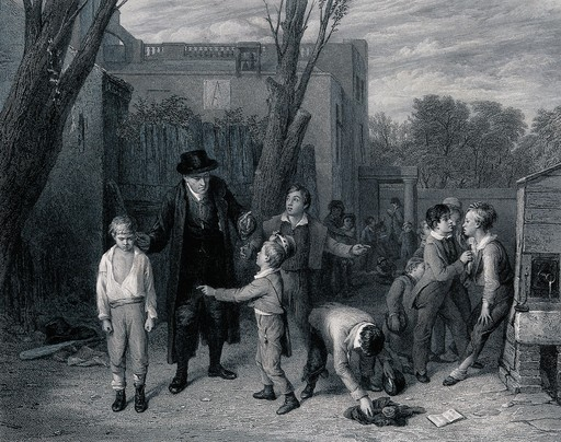 A man has separated two boys who were fighting in the playground. Engraving by L. Stocks after W. Mulready. Wellcome Collection CC BY