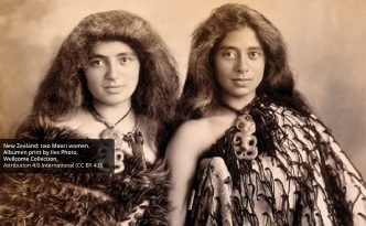 New Zealand: two Maori women. Albumen print by Iles Photo.
