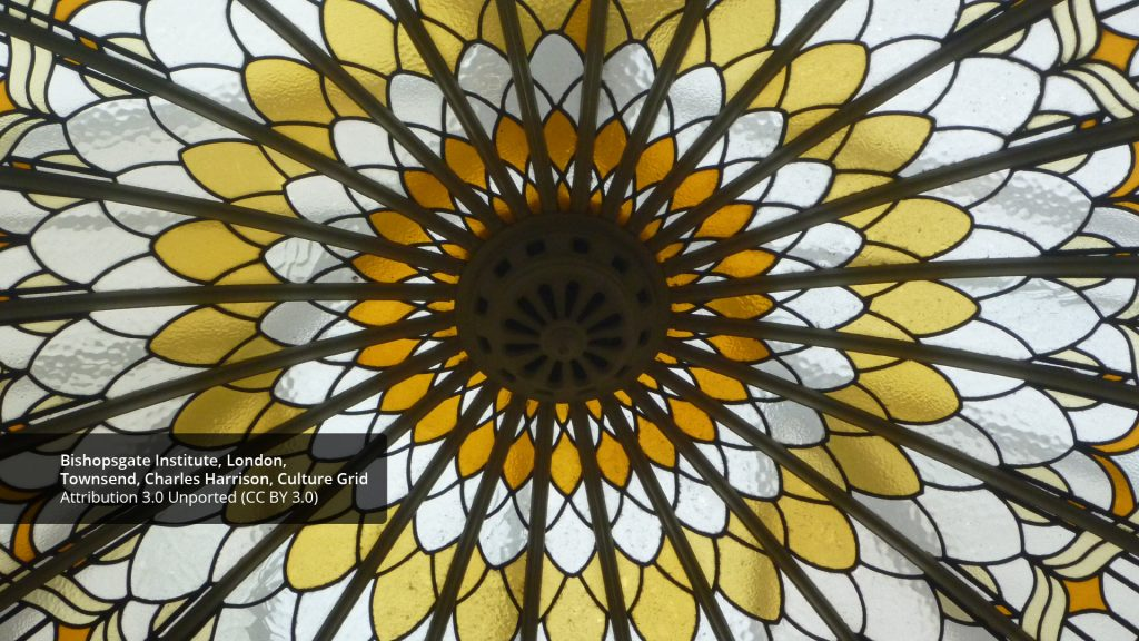 geometric art - picture of domed stained glass skylight in library of Bishopsgate Institute, London.