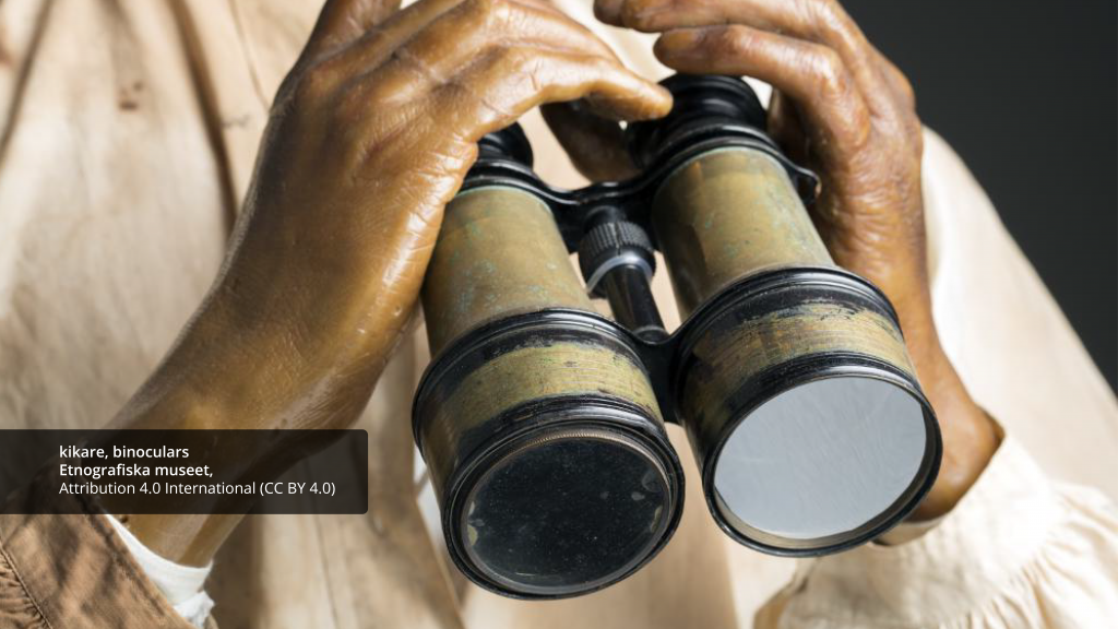 Coloured photography of a mannequin holding binoculars - image used to promote the call for Europeana User Group Teachers