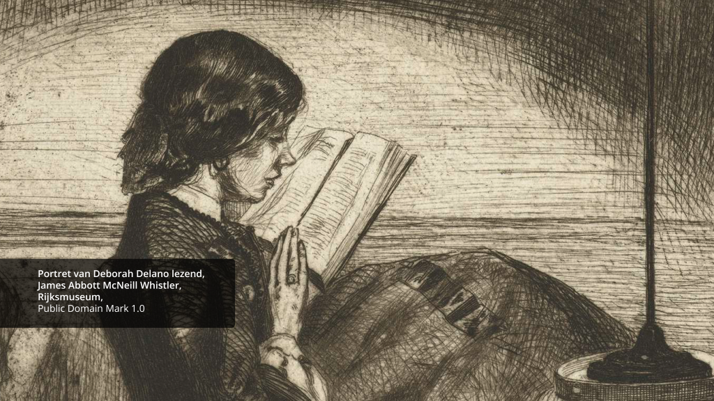 scan of a print showing a woman reading a book - visual used to promote the call for Europeana Education Ambassadors
